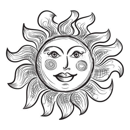 Astrology Symbol of Sun with Rays Stylized as Engraving. Ornamental doodle vector illustration isolated on white background.