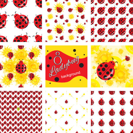 Cute ladybug cartoon seamless pattern. Bright colorful summer background collection