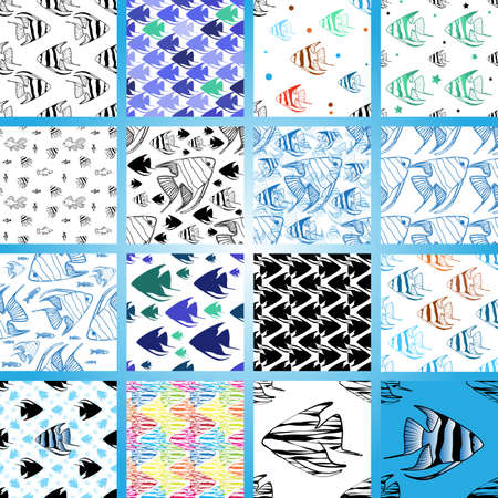 scalar: Seamless pattern with scalar fishes, fully editable . Sea or aquarium background collection