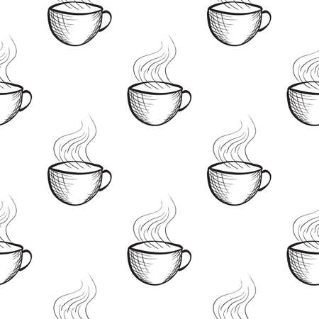 tiling: Seamless pattern with hand drawn sketchy tea and coffee cups. Coffee break tiling background engraving style