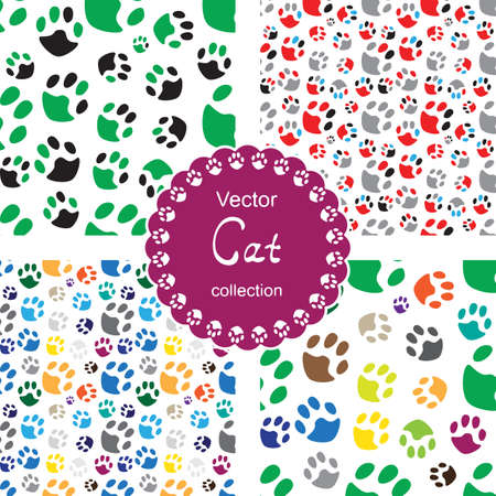 cat paw: Endless pattern set with cat paw. Seamless hand drawn background collection