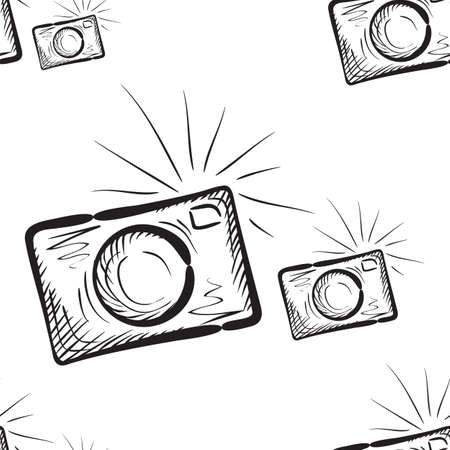 Photo camera vector endless background engraving style