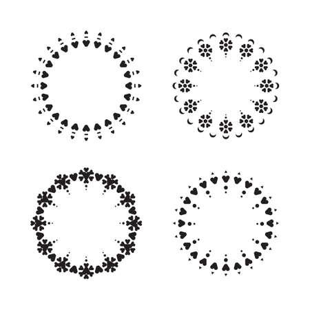 marcos redondos: Conjunto de marcos redondos aislados en blanco Vectores