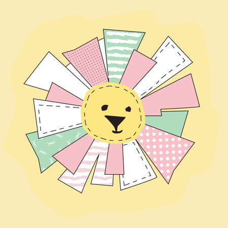 seamstress: Yellow Funny Sun in Patchwork Style for baby t-shirt