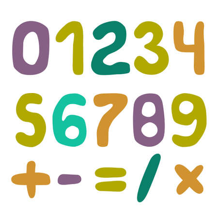 Handwritten Numbers Vector Set. 0123456789 colorful illustration