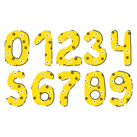 Handwritten Numbers Vector Set. 0123456789 yellow illustration Illustration