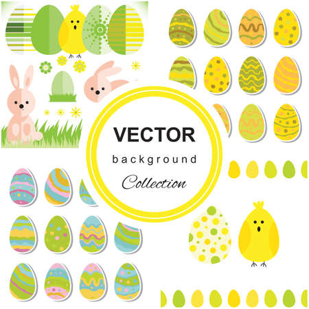 hide and seek: Seamless pattern with easter eggs and rabbit. Multicolored background.