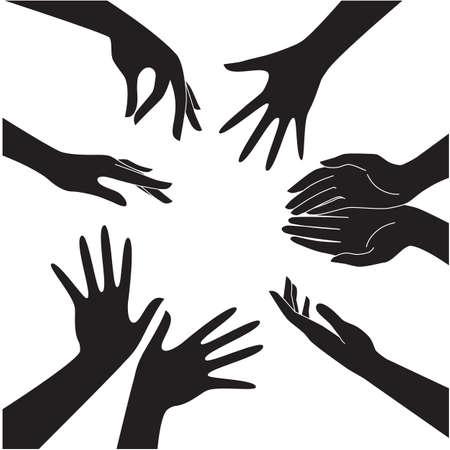白い背景の分離された黒い手アイコンのベクトルを設定