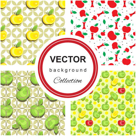 colection: Seamless apple background pattern colection for advertising, design, web, tissue, packaging Illustration