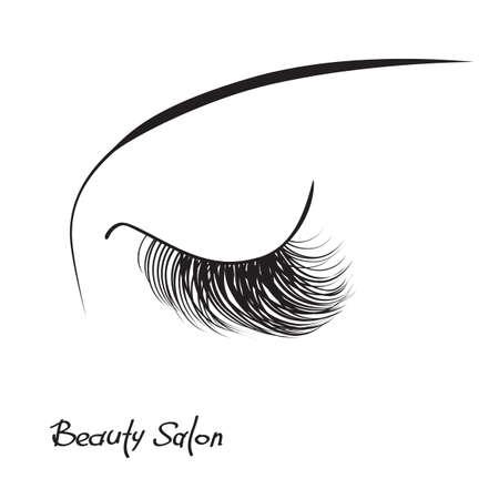 Closed eye with long eyelashes isolated on white background