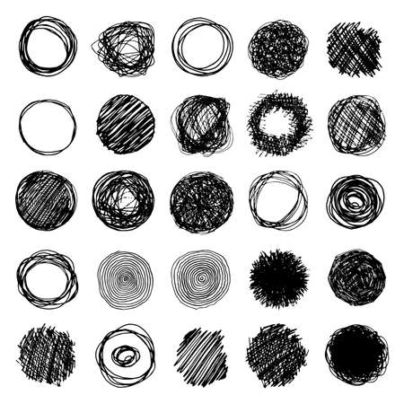 garabatos: Set Of Pencil Doodle Borders. Hand Drawn Scribble Circle Frames Collection Vectores