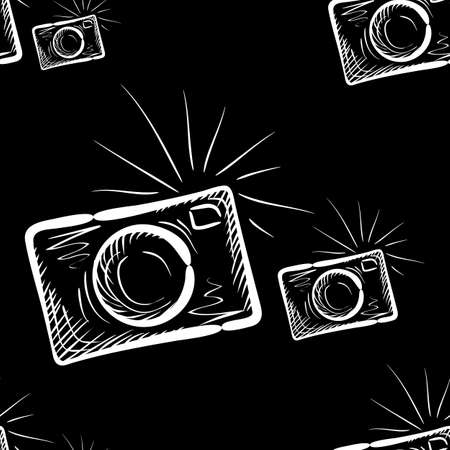 Hand drawn photo camera on chalkboard background. Vector seamless pattern.