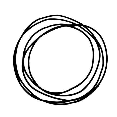 scrawl: Pencil Doodle Border Template. Hand Drawn Scribble Circle Frame