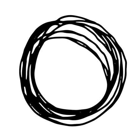grunge frame: Pencil Doodle Border Template. Hand Drawn Scribble Circle Frame