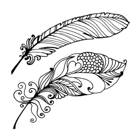 Gezeichnete Illustration der Vogel-Feder-Hand lokalisiert auf weißem Hintergrund
