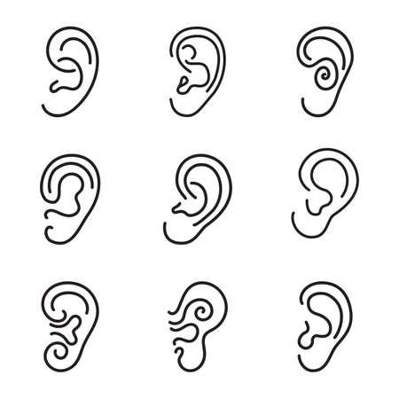 sensory perception: Ear icons or symbols set isolated on white background