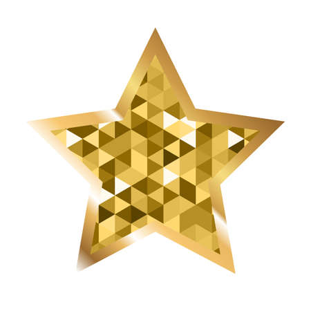 five pointed: Golden five pointed star icon isolated on white background. Trendy logo design template.