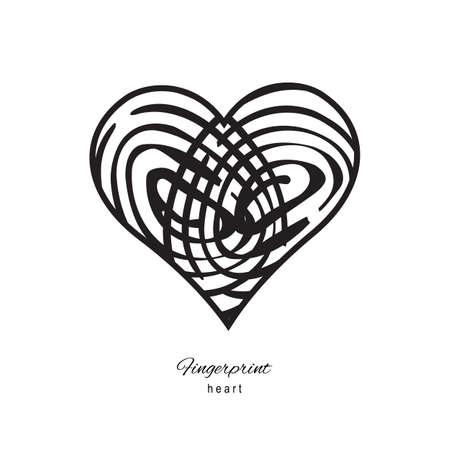Fingerprint heart icon isolated on white background