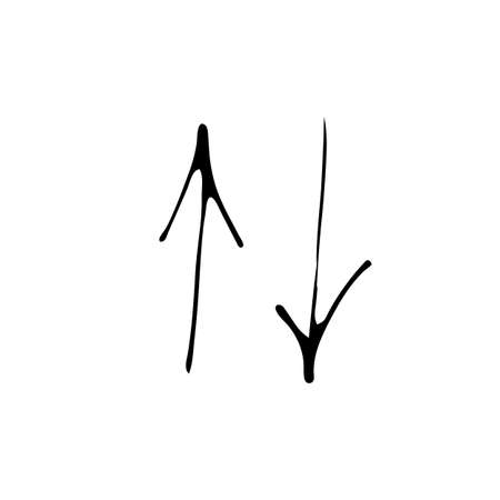 Hand Drawn Doodle Arrow Icon Isolated On White Background