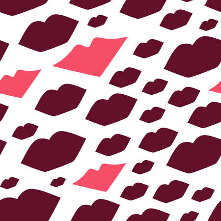 Seamless vector illustration with lips. Kissing background pattern