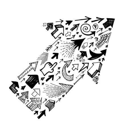 Big arrow shape made with small arrows. Hand drawn vector arrows set isolated. Teamwork goal concept Illustration