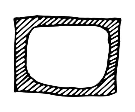 rough draft: Hand drawn rectangle frame. Cartoon vector square border. Pencil effect shape isolated.