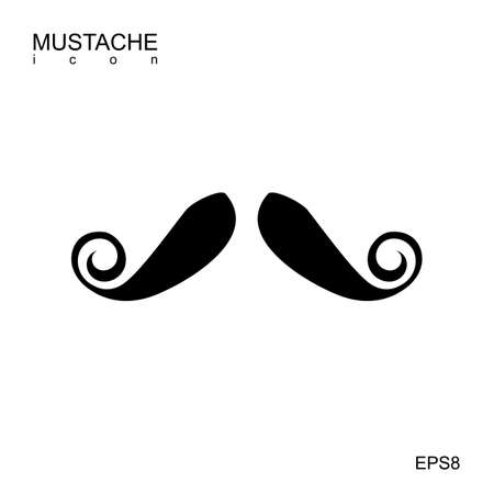 Black vector mustache icon isolated on white. Cartoon barber silhouette hairstyle