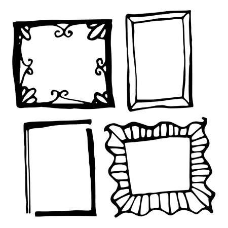 rough draft: Hand drawn rectangle frames set. Cartoon vector square borders. Pencil effect shapes isolated. Illustration