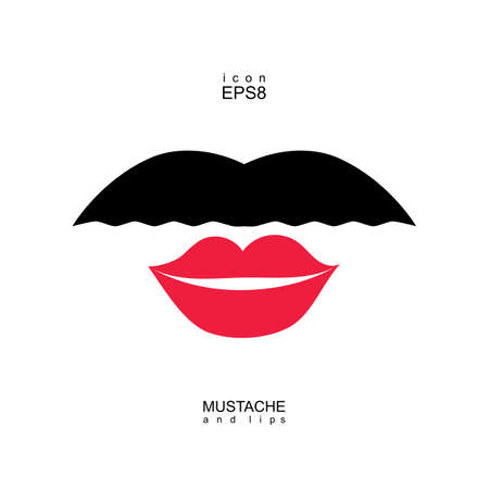 transexual: Damas y caballeros icono aislado. Los labios y bigotes forma vectorial. Imagen transexual transexual.