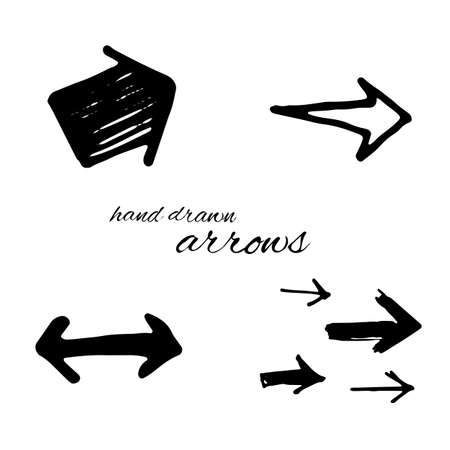 sideways: Doodle vector arrows set isolated. Hand drawn collection for design