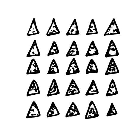 scrawl: Collection of hand drawn triangles. Set of black and white geometric elements Illustration