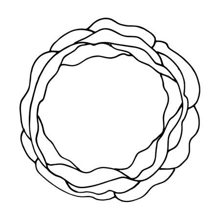 scrawl: Simple hand drawn circle template. Round doodle vector sketch elements