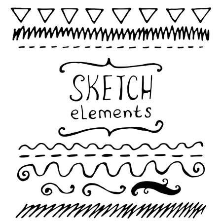 sketched: Collection of sketched elements. Hand drawn vector illustration. Illustration