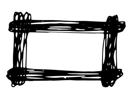 Hand drawn rectangle frame. Cartoon vector square border. Pencil effect shape isolated.
