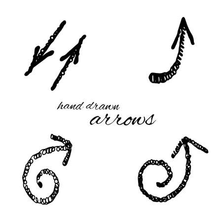 Doodle vector arrows set isolated. Hand drawn collection for design