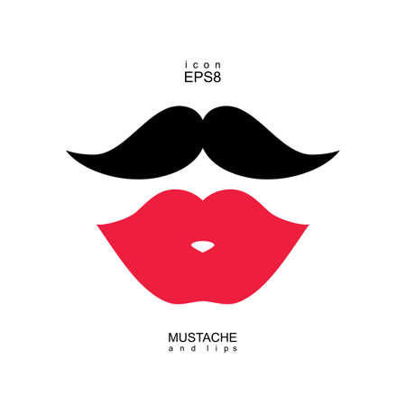 Ladies and gentlemen icon isolated. Lips and mustaches vector shape. Transvestite transsexual image. Illusztráció