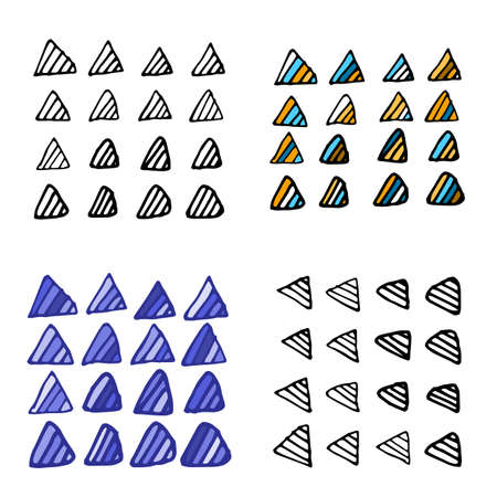 Collection of grunge pen triangles. Set of vector tribal scribbles. Quick ink sketches.
