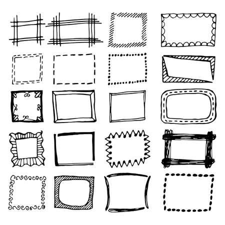 Ensembles de rectangle dessinés à la main. Frontières carrées de dessins animés. Formes d'effet de crayon isolées. Vecteurs