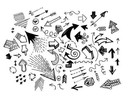 Hand Drawn Doodle Arrow Icon Set Isolated On White Background