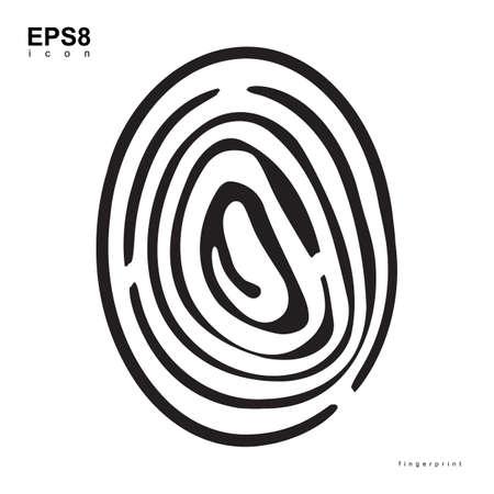 fingermark: Fingerprint Black Icon Isolated On White Background. Biometric symbol.