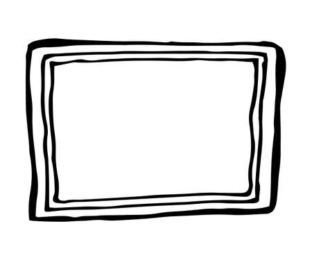 square: Hand drawn rectangle frame. Cartoon vector square border. Pencil effect shape isolated.