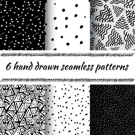 delta: Hand Drawn Seamless Triangle Pattern With Ink Doodles. Black And White Vector Delta Background Set. Trigon Squiggle Texture Organic Geometric Design Illustration