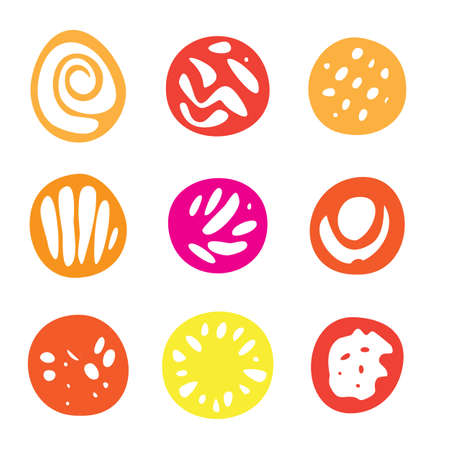 garabatos: Set Of Red and Yellow Hand Drawn Circle Elements In Flat Style.