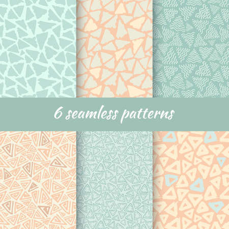 squiggle: Hand Drawn Seamless Triangle Pattern In Retro Style. Vintage Colors Delta Background Set. Trigon Squiggle Texture Organic Geometric Design