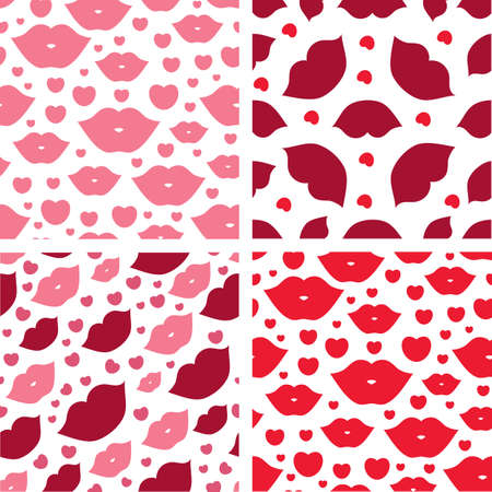 Set of seamless vector illustration with lips. Kissing background pattern