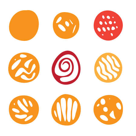 garabatos: Conjunto de rojo y naranja a mano elementos de círculo dibujado en Flat Style. Vectores