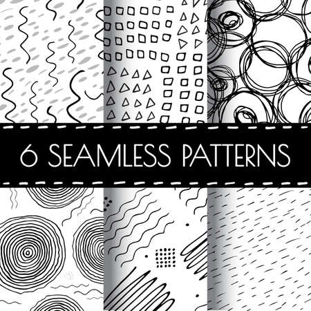 squiggle: Hand Drawn Seamless Triangle Pattern With Ink Doodles. Black And White Vector Delta Background Set. Trigon Squiggle Texture Organic Geometric Design Illustration