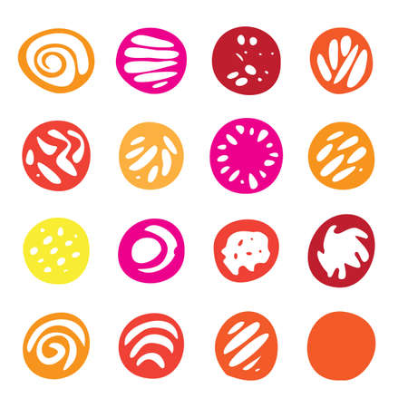 Set Of Red and Yellow Hand Drawn Circle Elements In Flat Style.