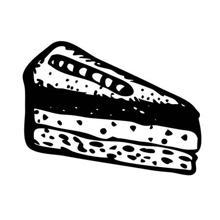 gateau: Doodle style slice of pie illustration in vector. Hand drawn vector piece of cake. Sandwich cartoon isolated on white.