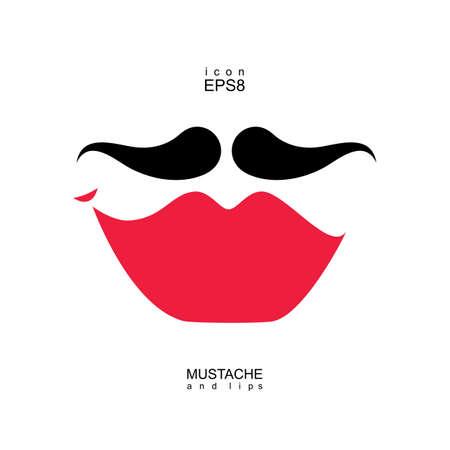 transexual: Damas y caballeros icono aislado. Los labios y bigotes forma vectorial. Imagen transexuales travesti.